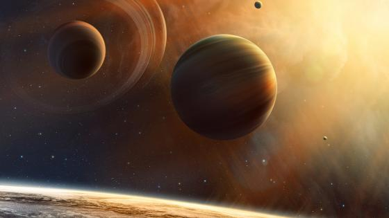 Planets in the outer space wallpaper