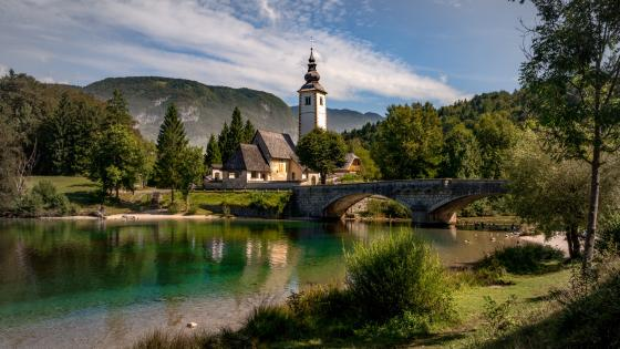 St. John the Baptist Church at Lake Bohinj wallpaper