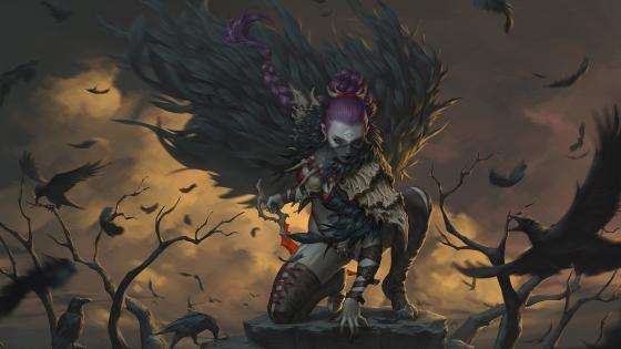 Demon and crows wallpaper