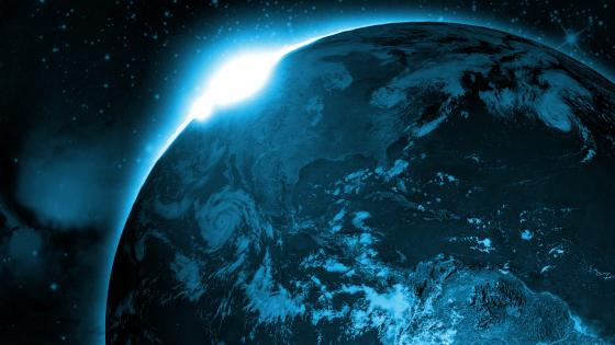 Glowing blue Earth wallpaper