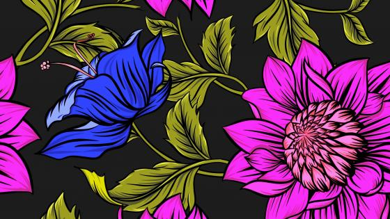 Big flower pattern wallpaper