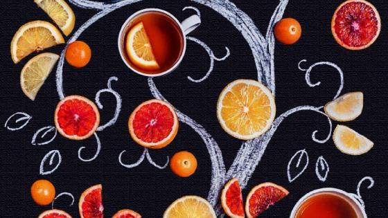 Tree with oranges lemons and tea cups wallpaper