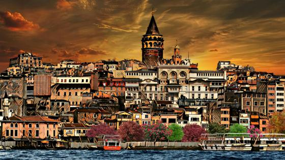 Galata Tower with painting photo effect wallpaper
