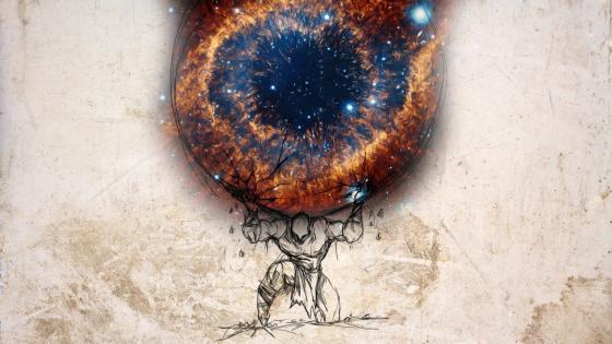 Atlas holds Helix Nebula wallpaper