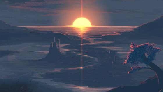 Fantasy sunset landscape wallpaper