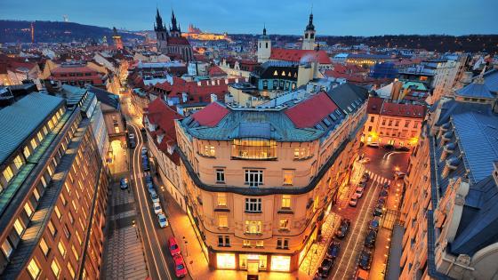 Prague at dusk wallpaper