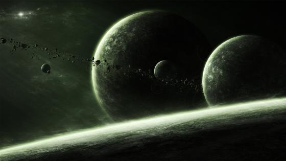 Planets and meteors wallpaper