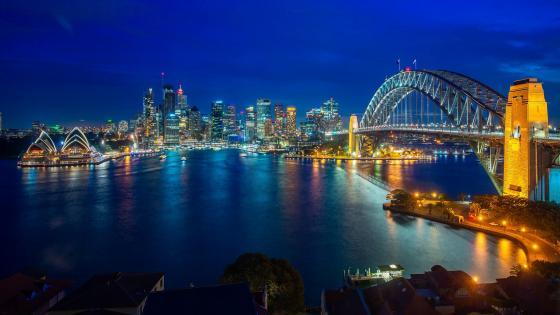 Sydney Harbour Bridge at night wallpaper