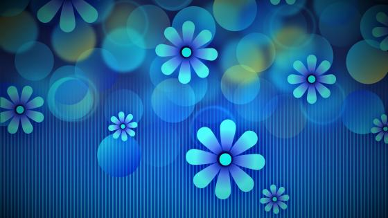 Blue flowery graphics wallpaper