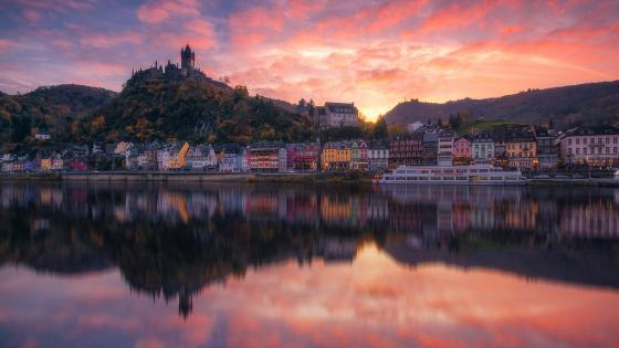Cochem at sunset wallpaper