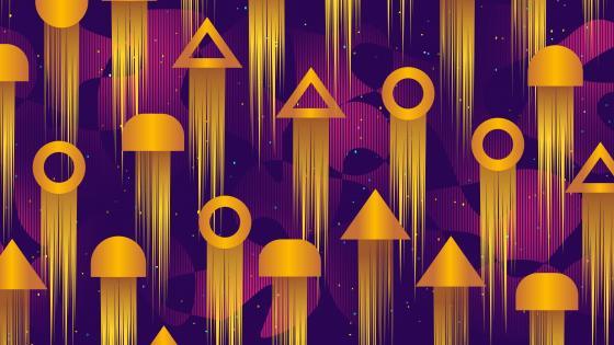 Golden geometric shapes wallpaper
