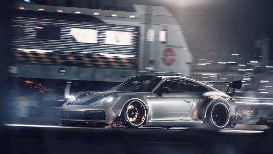 Silver Porsche 911 GT3 wallpaper