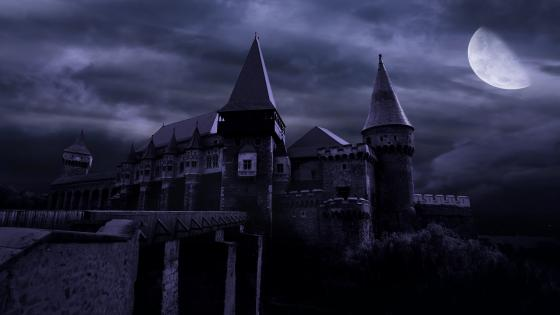 Spooky castle in the moonlight wallpaper