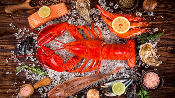 Fresh tasty seafood wallpaper