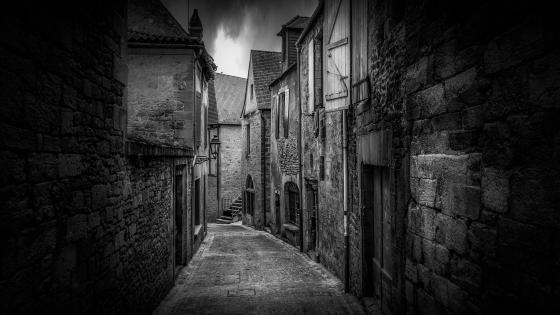 Dark monochrome alley wallpaper