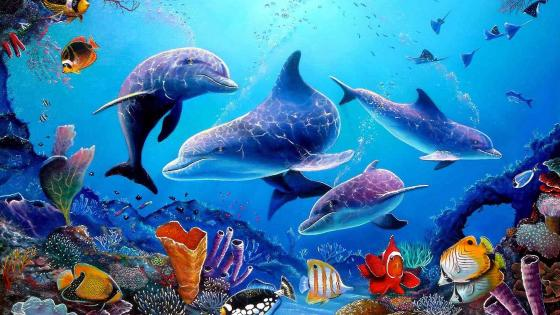 Dolphins fairytale art wallpaper