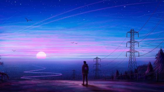 Man in fantasy city at sunset wallpaper