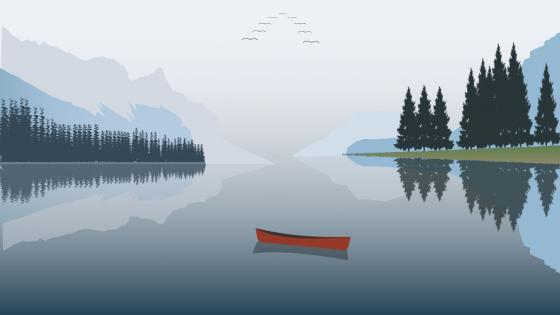 Minimalist landscape refelction wallpaper