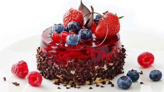 Dessert with strawberries and blueberries wallpaper