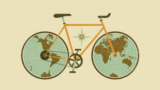 Bicycle wheel Earth wallpaper