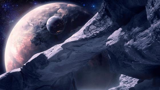 Fictional planet and moon wallpaper