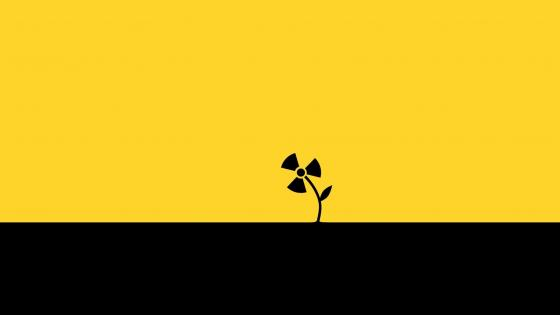 Black and yellow radioctive flower wallpaper
