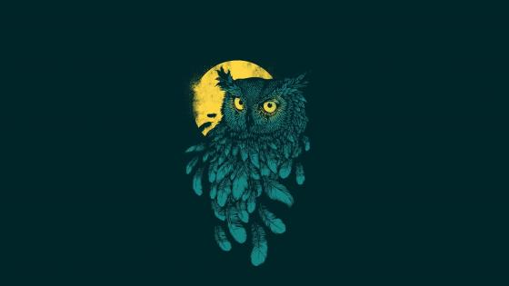 Owl at full moon drawing wallpaper