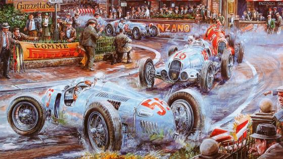 Vintage Rally Painting wallpaper