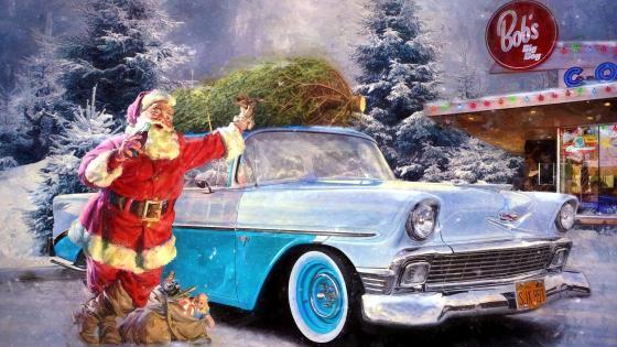 Santa Claus And Vintage Car wallpaper