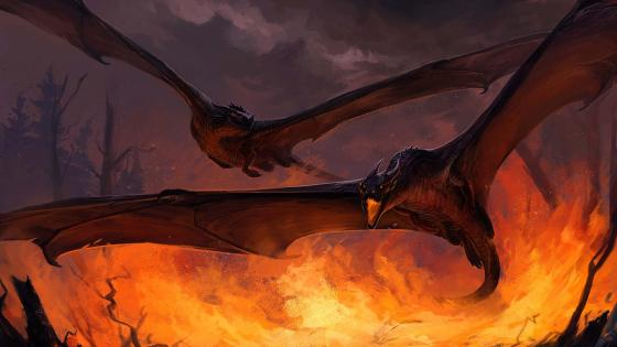 Bat dragons on forest fire wallpaper
