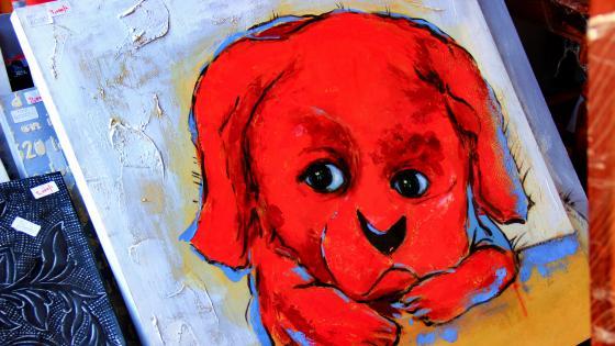 Modern art oil painting of a puppy wallpaper