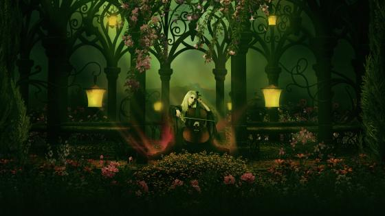 Gothic garden with contrabass music wallpaper
