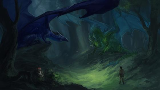 Dragons on the dark forest wallpaper