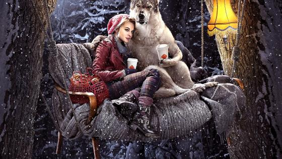 Red Riding Hood And The Wolf - Funny fantasy art wallpaper