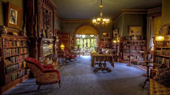 Vintage Room with Library wallpaper