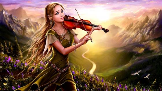 Elf girl with violin wallpaper