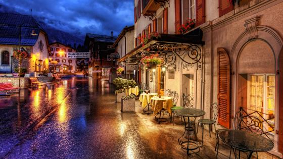 Road at night in Zermatt (Switzerland) wallpaper