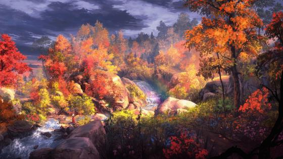 Fantasy autumn painting wallpaper
