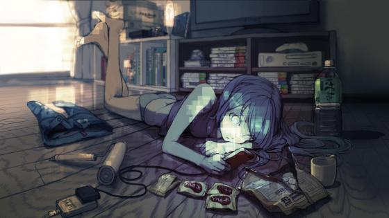 Blue-haired anime gamer girl wallpaper