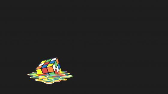 Melting Rubik's Cube wallpaper