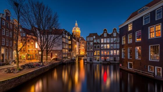 Amsterdam by night wallpaper