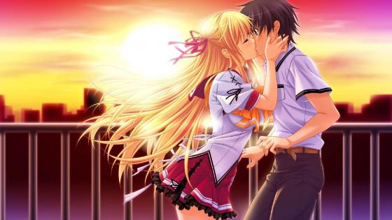 Romantic anime kiss wallpaper