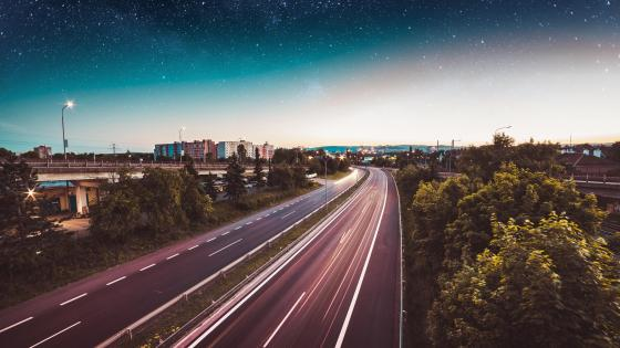 Highway long exposure photography wallpaper