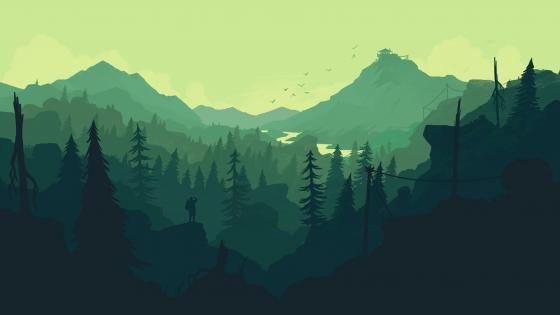 Hiking in the mountains minimal landscape wallpaper