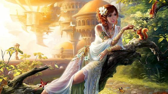 Girl with squirrel in fantasy landscape wallpaper