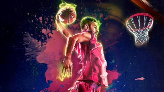 Basketball Slam dunk Digital Art wallpaper