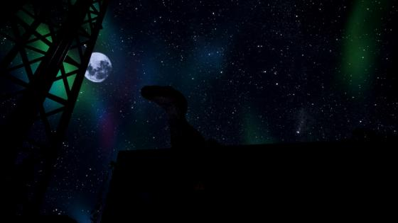 Dinosaur on the background of the Northern lights at full moon wallpaper