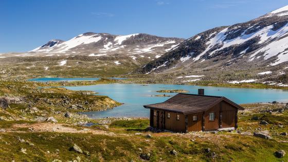 Wooden house in Norway wallpaper