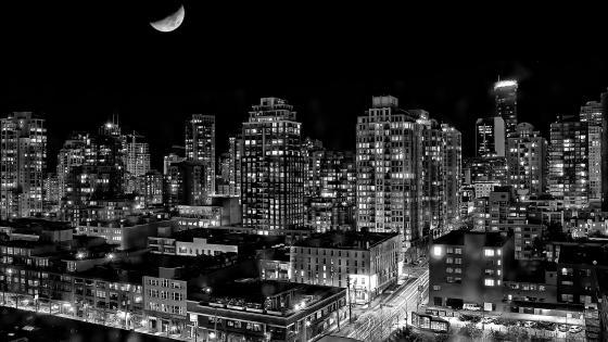 Cityscape at night - Monochrome photography wallpaper