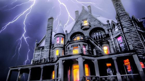 Craigdarroch Castle with lightning strikes wallpaper